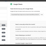 image shows a copy and paste import link to get data from trevor.io to google sheets