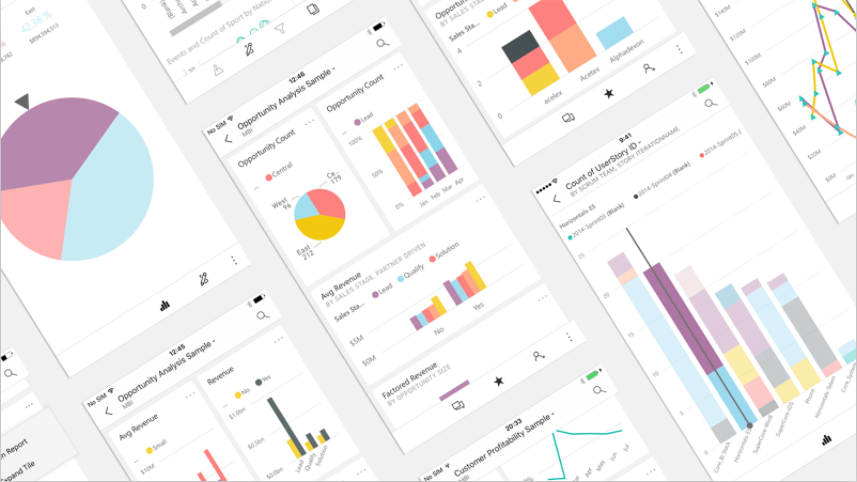 Examples of PowerBI Premium content viewed on mobile devices