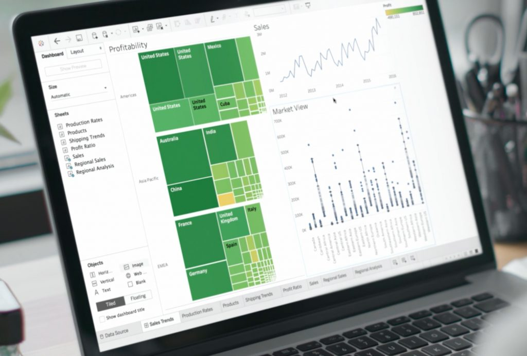 Tableau data visualisations shown on open computer